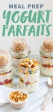 Prepared Meal Prep Fruit and Yogurt Parfaits in glass jars, with a text overlay