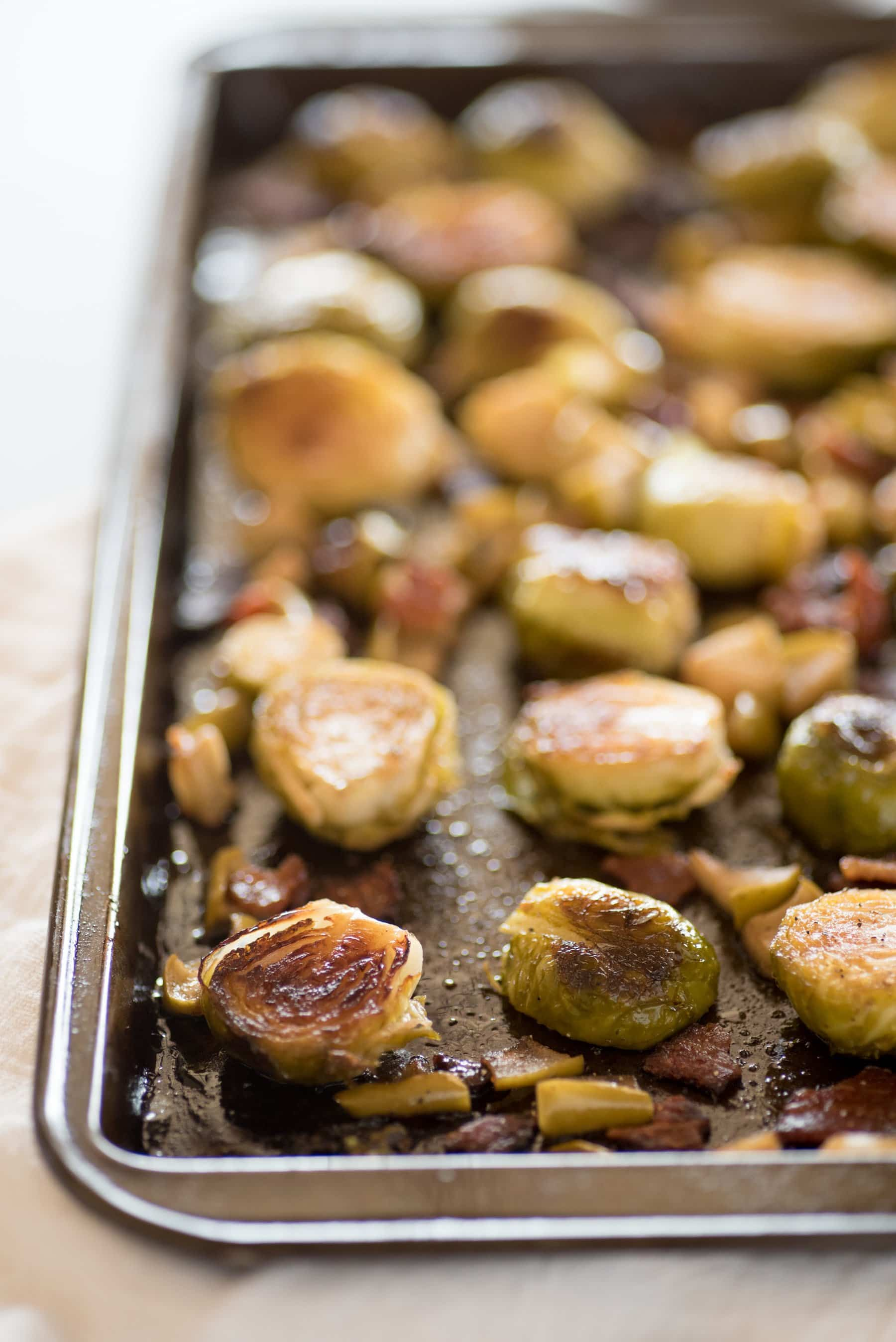 Roasted Brussels Sprouts with Apples and Bacon