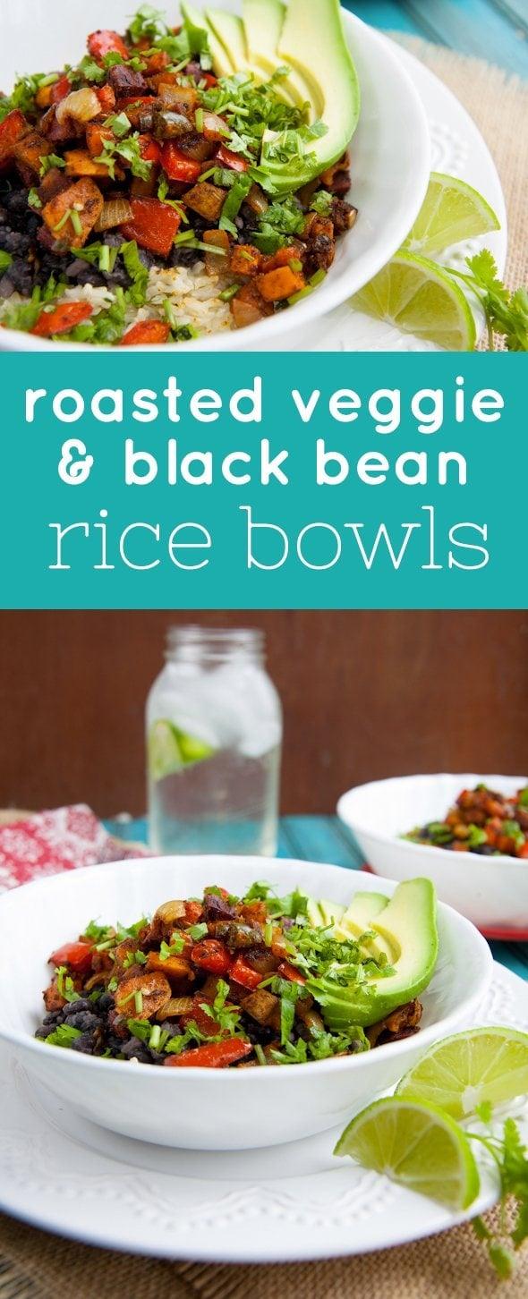 Roasted Veggie & Black Bean Rice Bowls