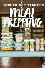 """Glass containers filled with a week's worth of meal prep. A text overlay reads """"How to Get Started Meal Prepping."""""""