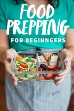 """Close-up of a woman holding a divided glass container filled with a prepped meal. A text overlay reads """"Food Prepping for Beginners."""""""