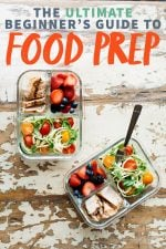 """Two divided glass containers filled with a meal prep lunch - chicken, berries, and vegetables. A text overlay reads """"The Ultimate Beginner's Guide to Meal Prep."""""""