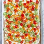 Tray of Cold Veggie Pizza Appetizers