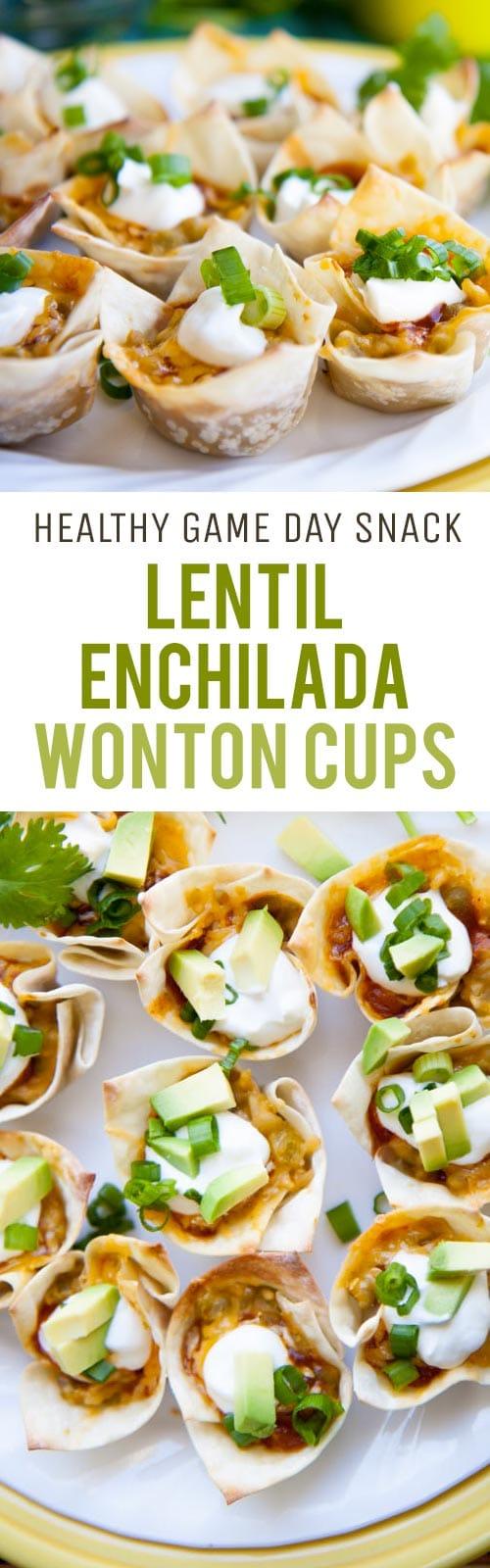 Lentil Enchilada Wonton Cups