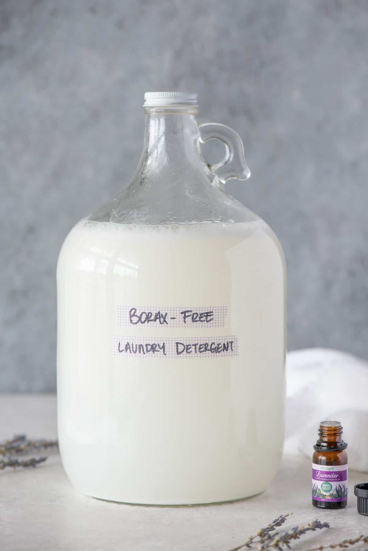 Glass bottle of Borax-Free Laundry Detergent