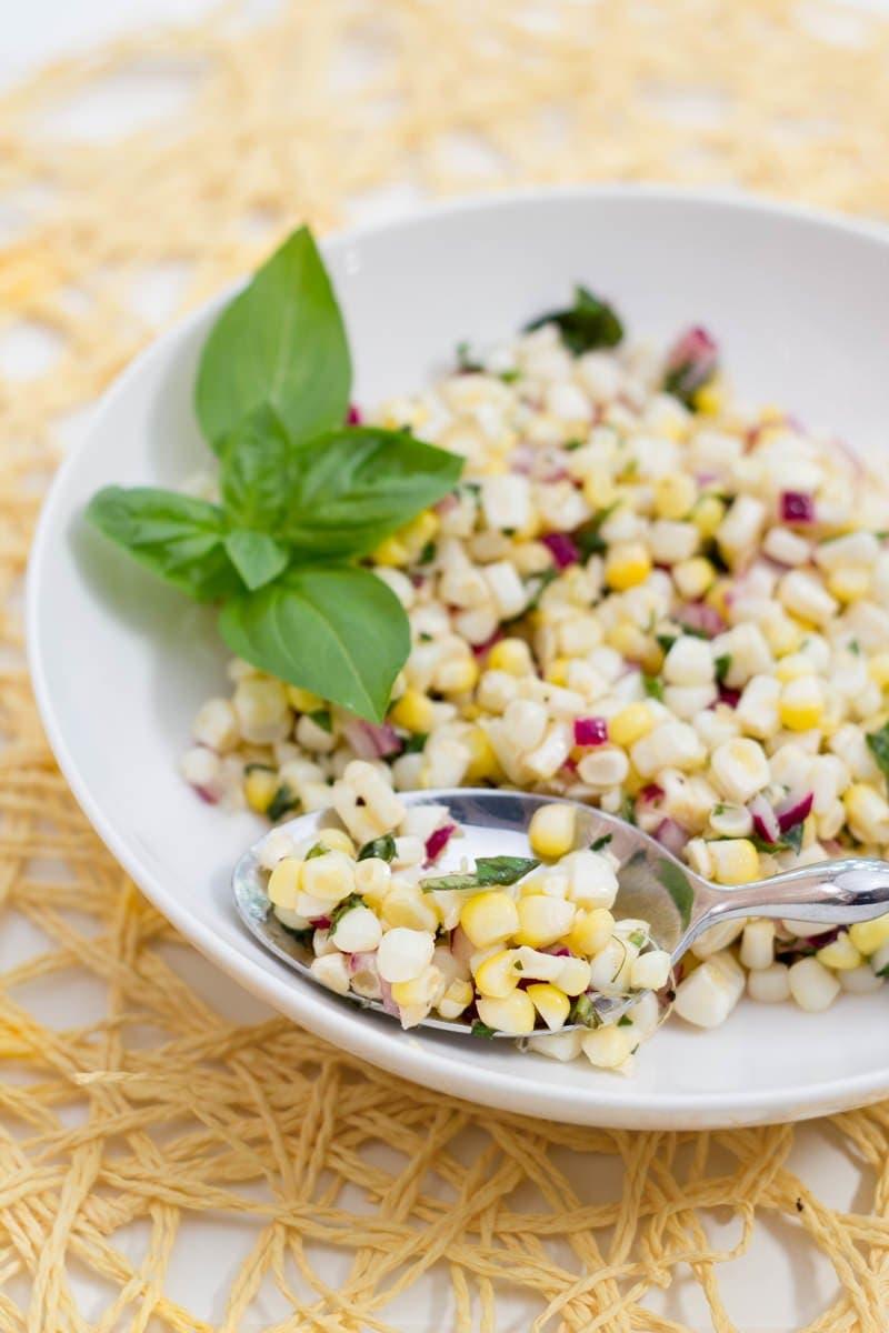 Fresh Corn and Basil Salad