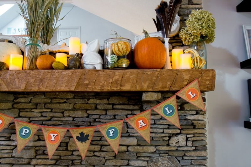 Fall Bunting on Fireplace Mantel