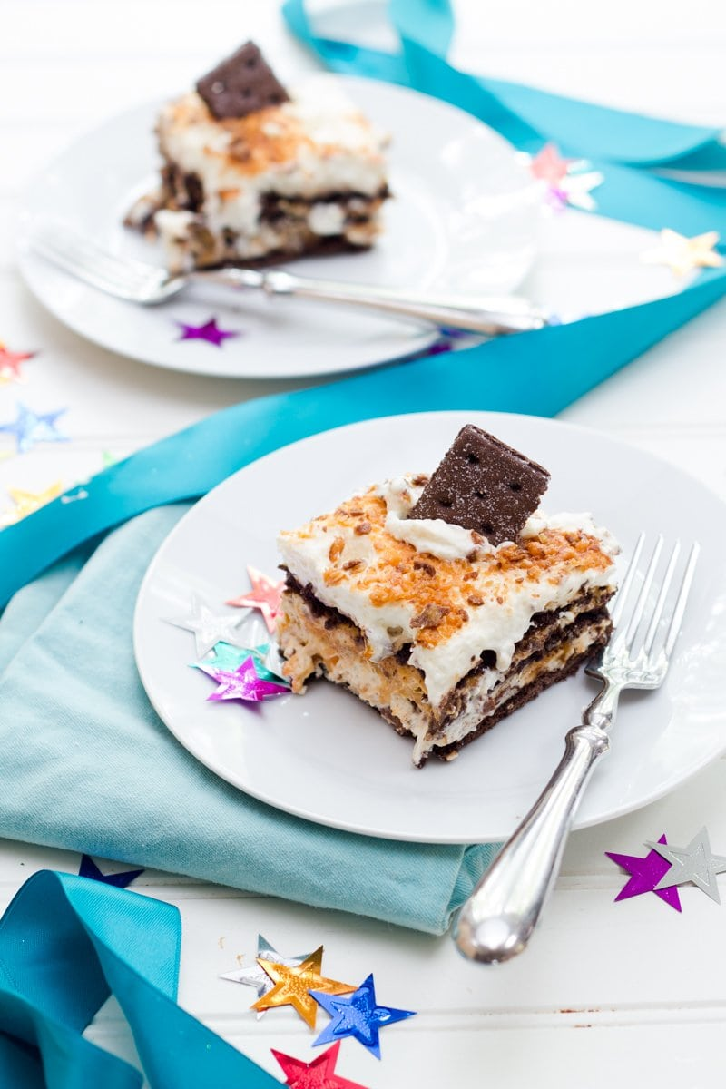 No Bake Butterfinger Ice Box Cake