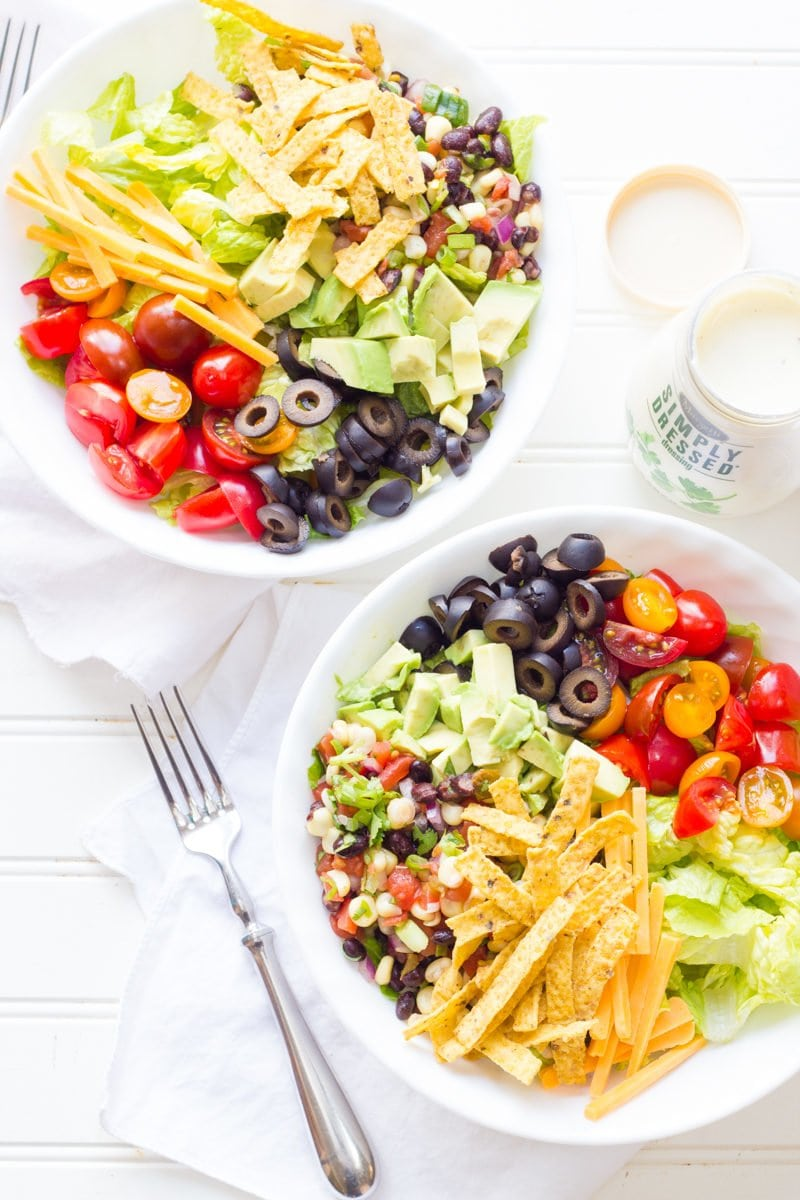 Black Bean Tortilla Chopped Salad with Ranch