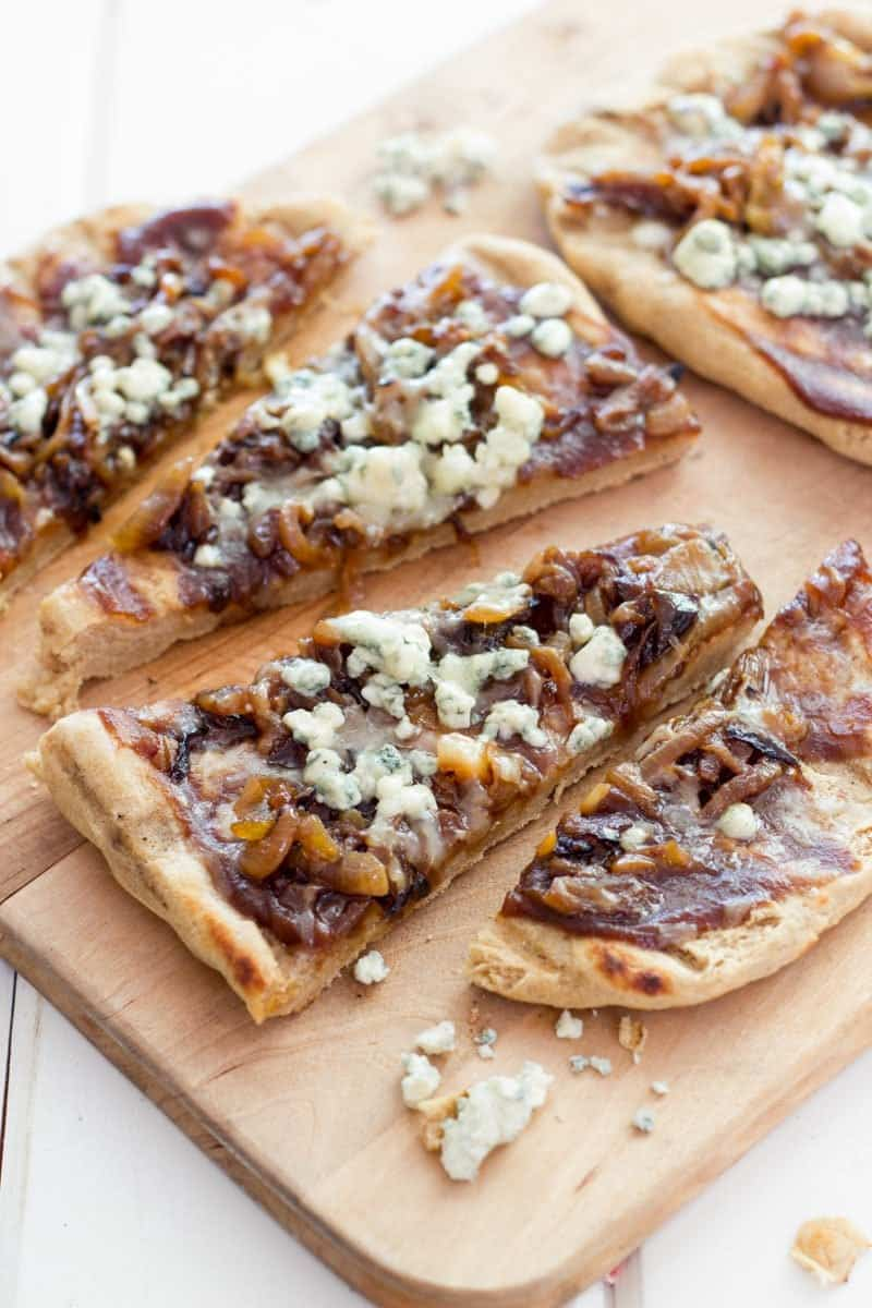 Grilled Caramelized Onion, Blue Cheese, and Apple Butter Flatbread