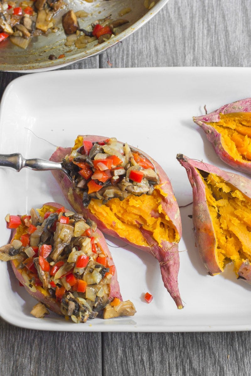 Portabella Stuffed Sweet Potatoes