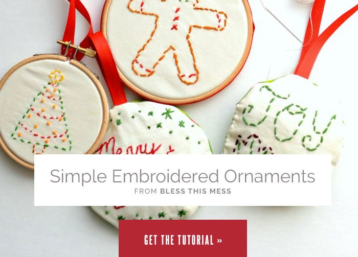 Simple Embroidered Ornaments from Bless This Mess