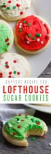 Lofthouse Sugar Cookies with red, white, and green frosting and sprinkles