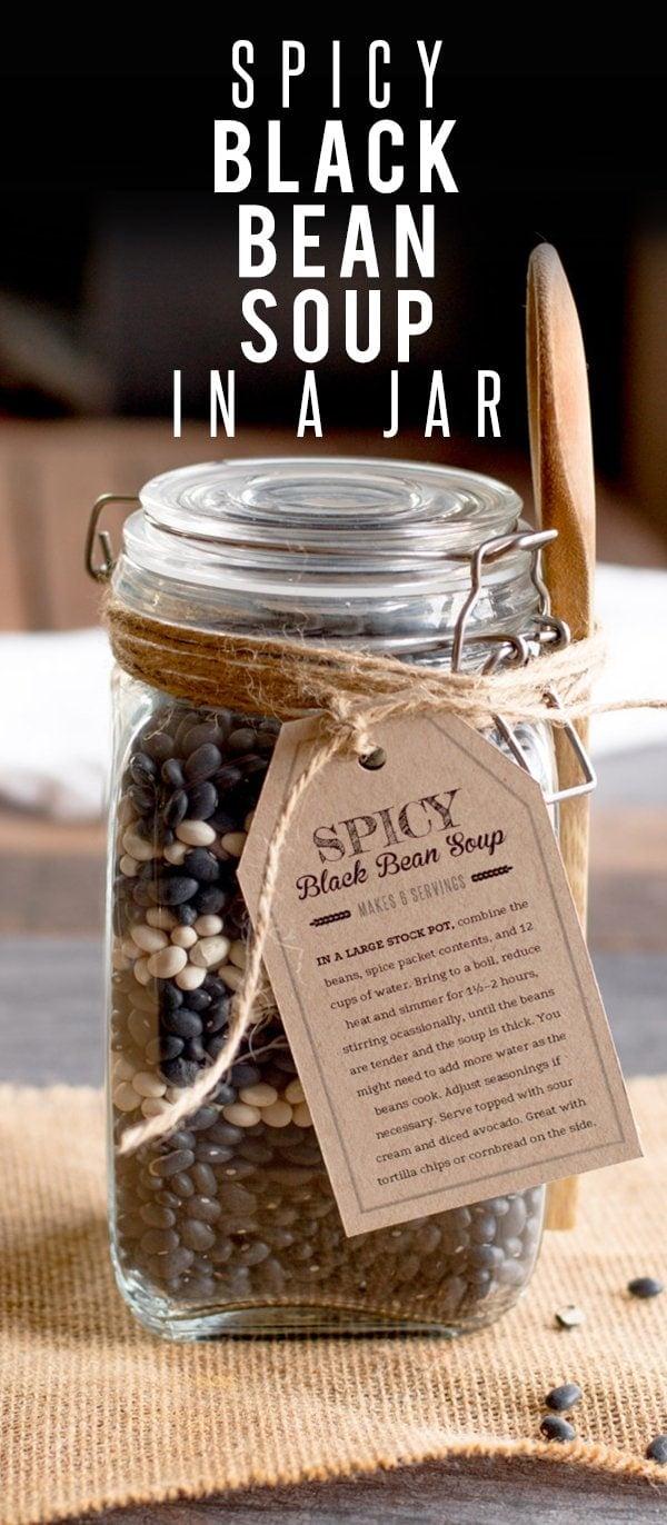 Spicy Black Bean Soup in a Jar