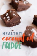 """Squares of Dark Chocolate Coconut Oil Fudge sprinkled with coconut on a white background. A text overlay reads """"Healthy! Coconut Oil Fudge."""""""