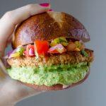 Salsa Chicken Burgers with Cilantro-Avocado Sauce