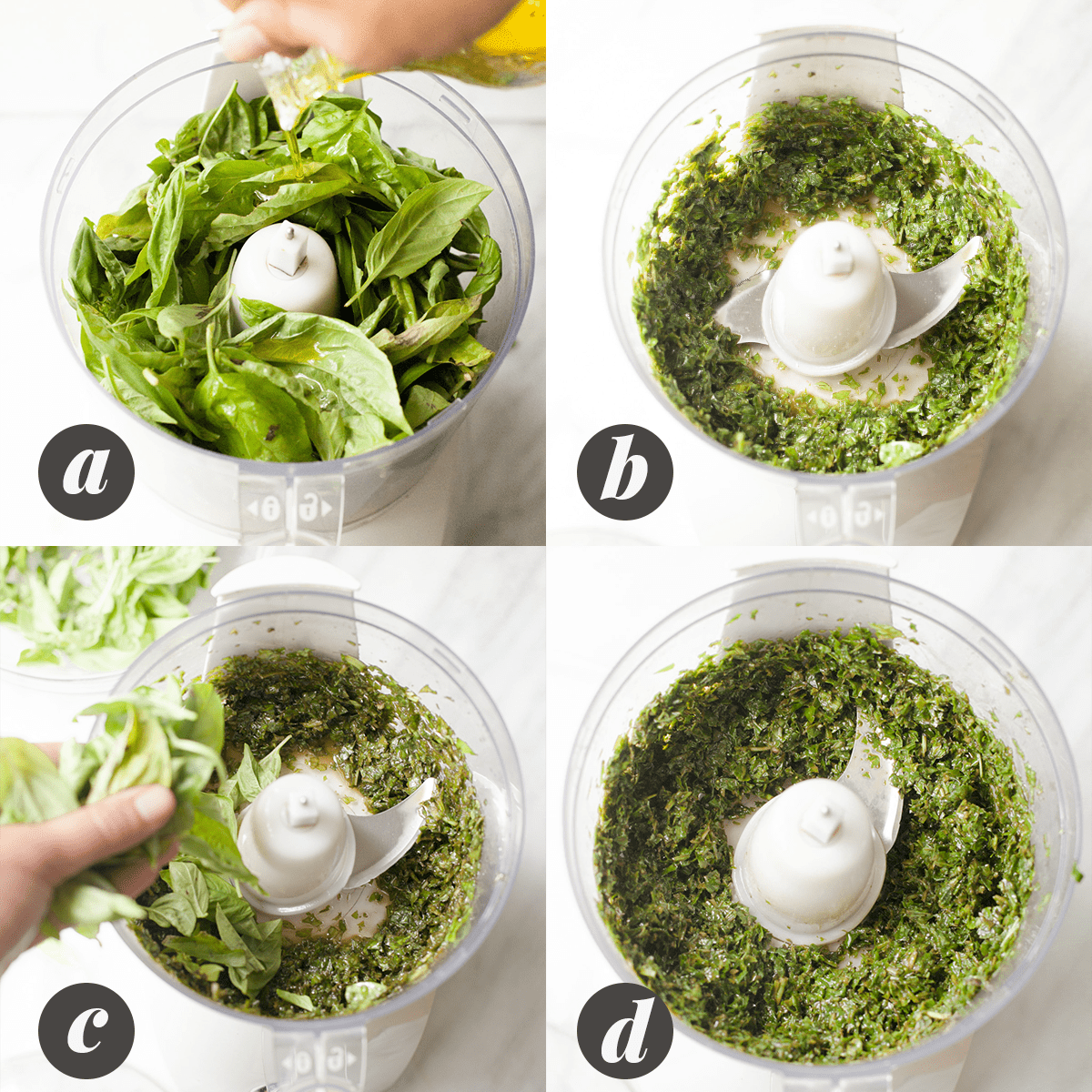 A four panel image showing the process of blending fresh basil with olive oil, as part of directions on how to freeze basil.