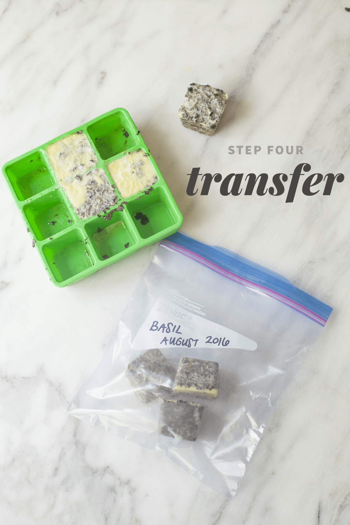 """Frozen cubes of basil are in both an herb freezing bag and a labeled zip-top bag. A text overlay reads """"Step Four: Transfer."""""""