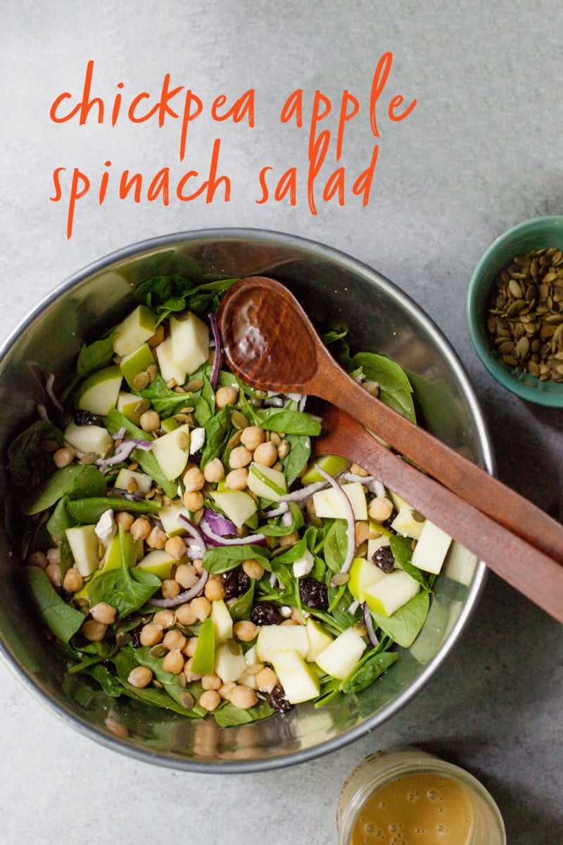 Chickpea Apple Spinach Salad