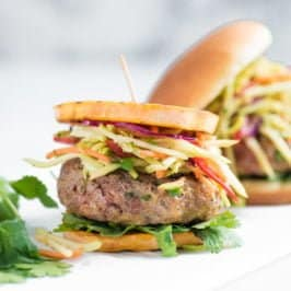 Asian Pork Burgers with Broccoli Slaw - Plated