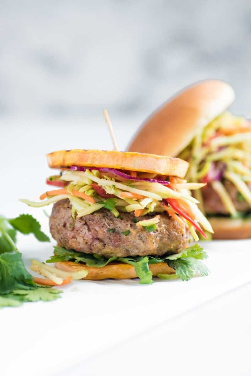 Asian Pork Burgers with Broccoli Slaw - Plated