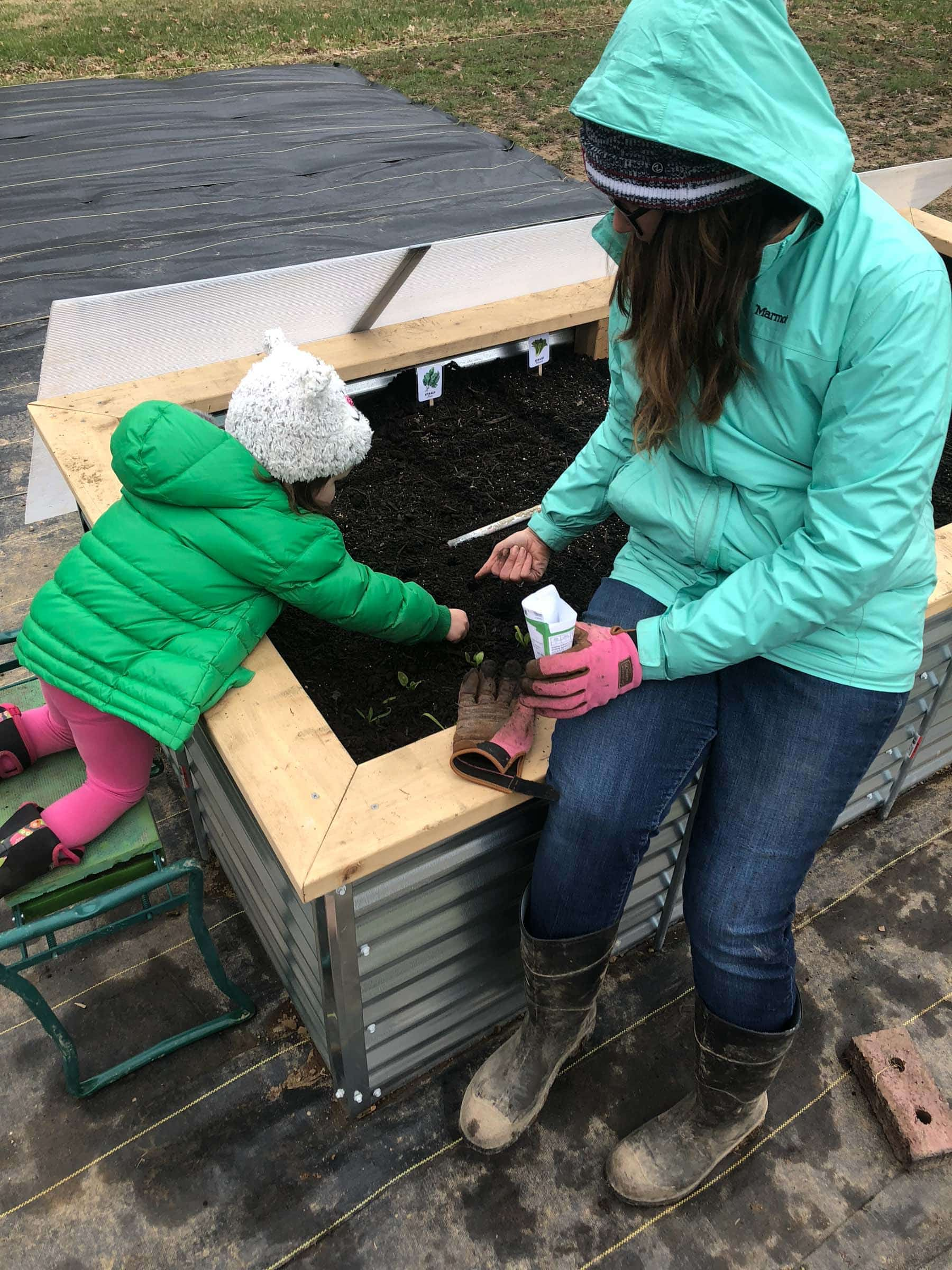 Mom and toddler planting seeds in raised bed
