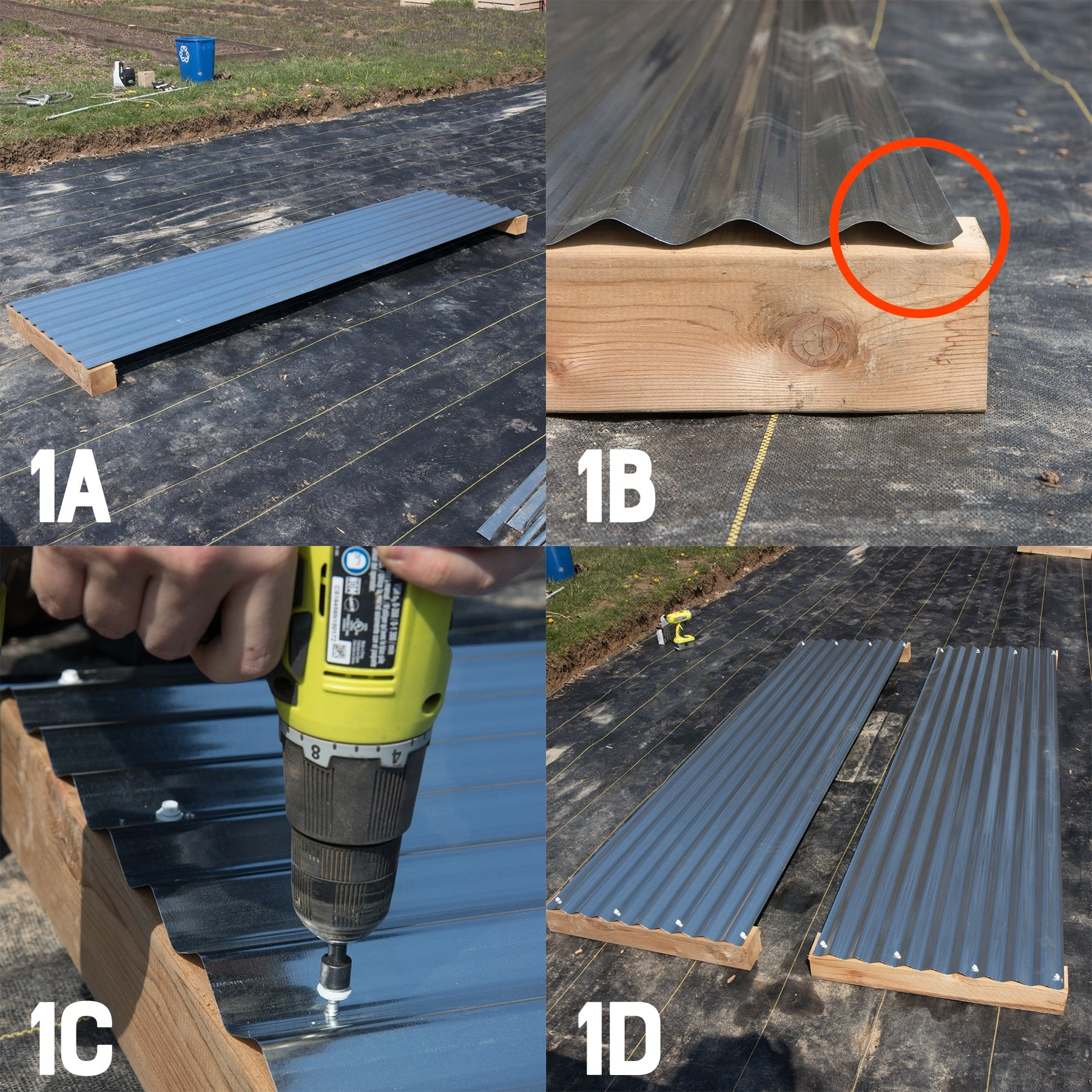 Four image collage of building the first side of a galvanized steel raised bed