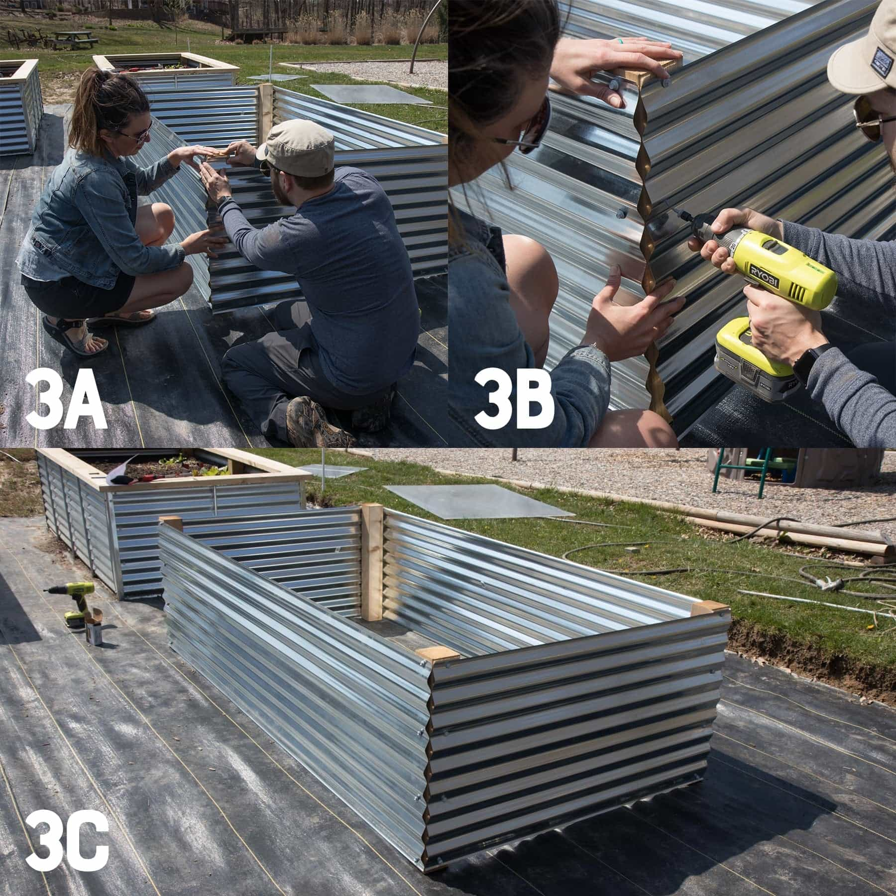 Three image collage of attaching the fourth side of a galvanized steel raised bed
