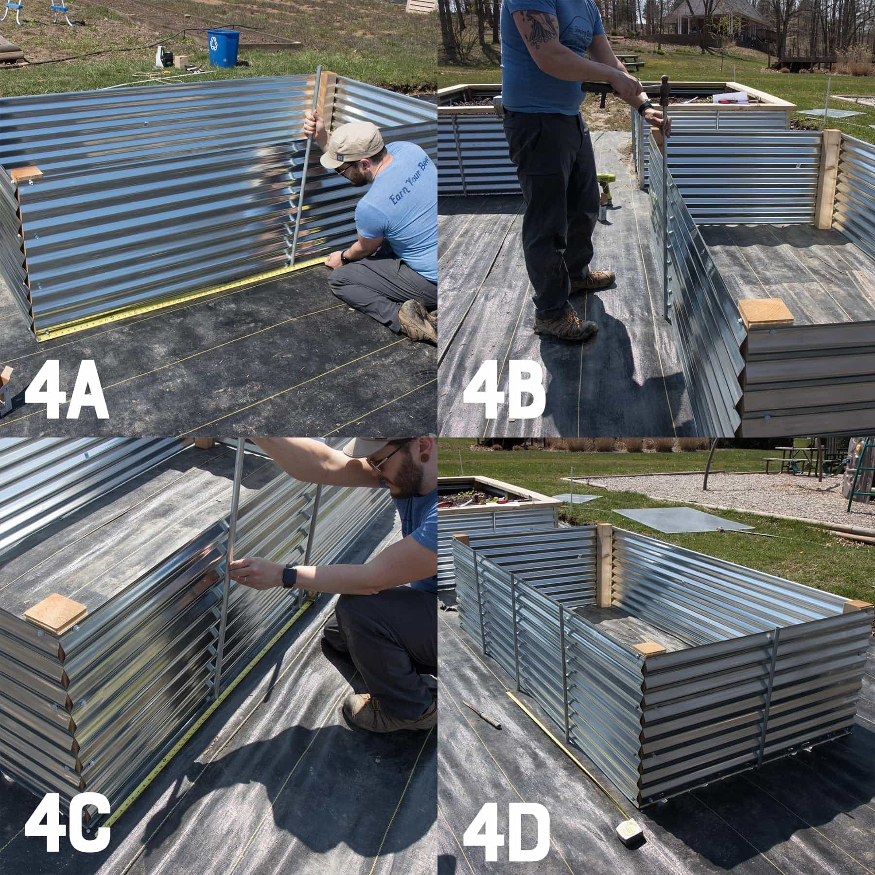 Four image collage of reinforcing a galvanized steel raised bed with conduit