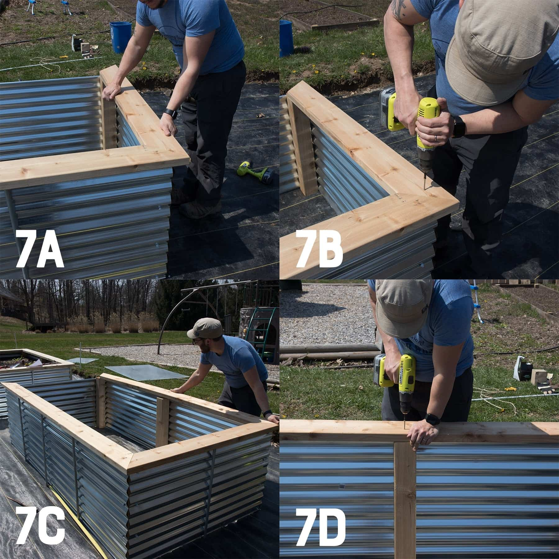 Four image collage of attaching a cedar top to a galvanized steel raised bed