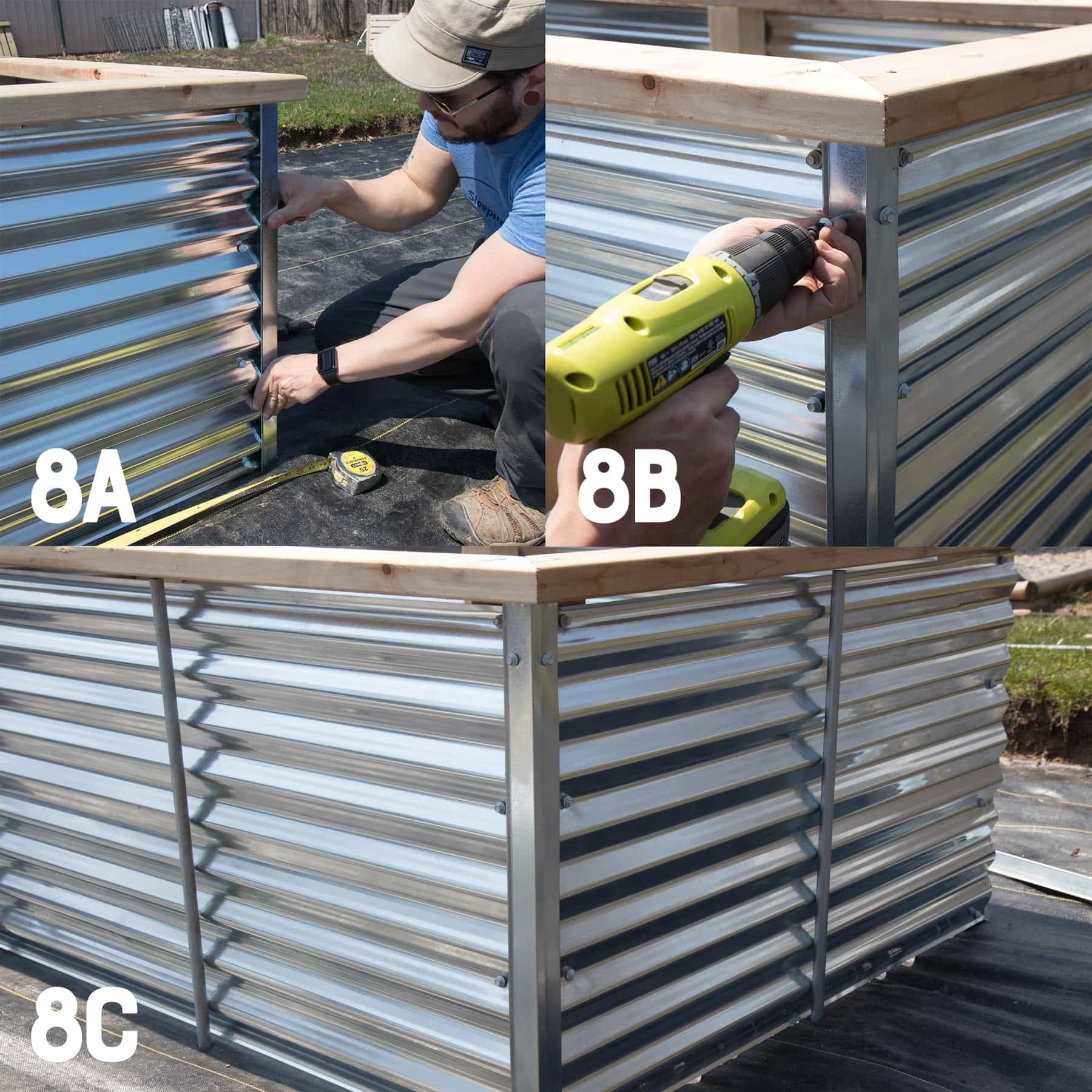 Three image collage of attaching roof edging to the corners of a galvanized steel raised bed