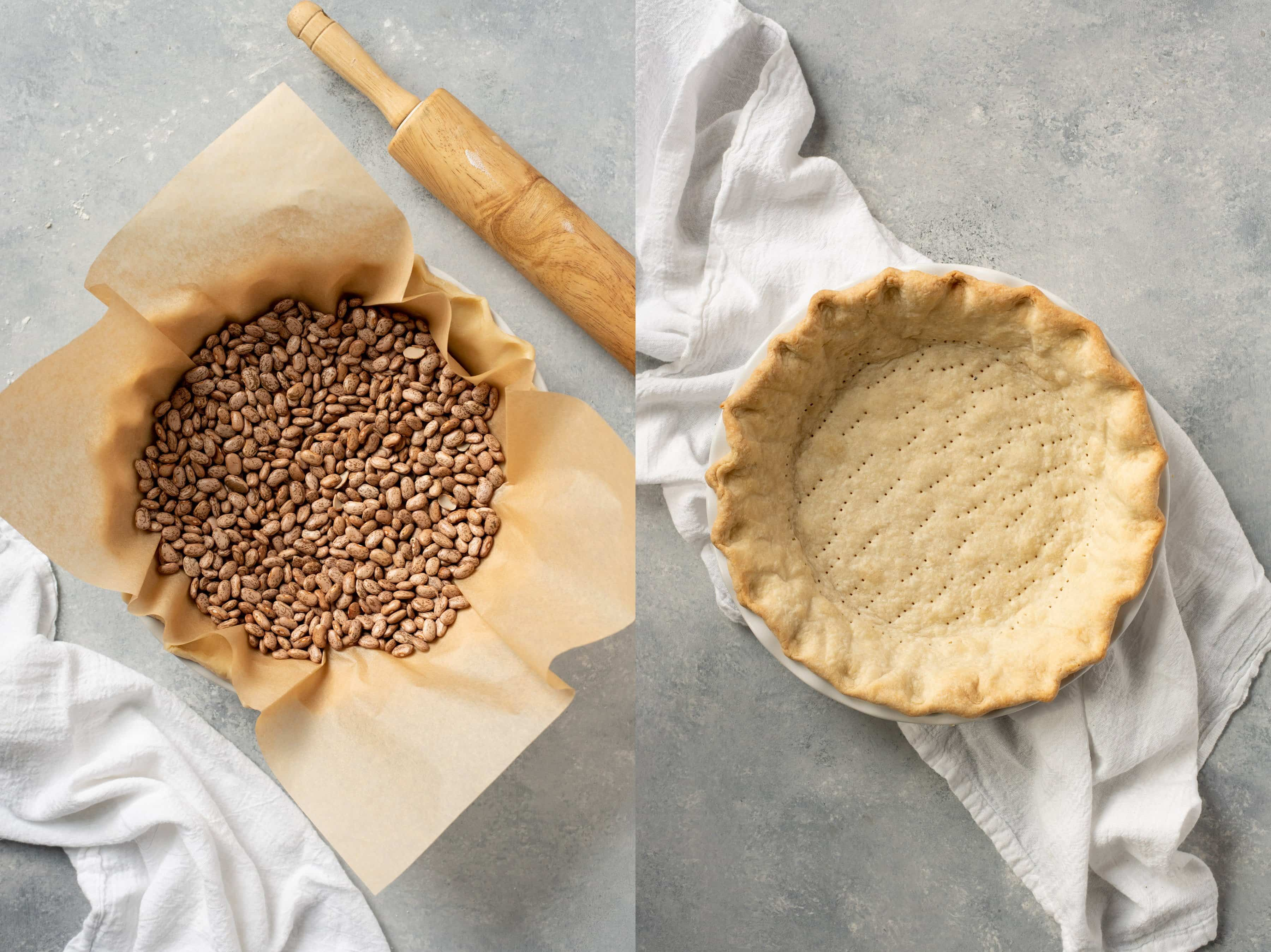 Side-by-side shot of blind baking a pie crust -- filled with dried beans and without