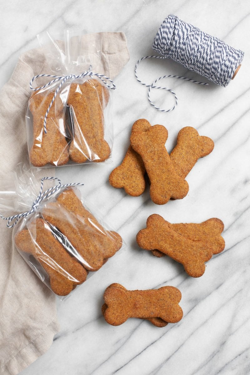 Healthy Homemade Dog Treats wrapped up for gifting