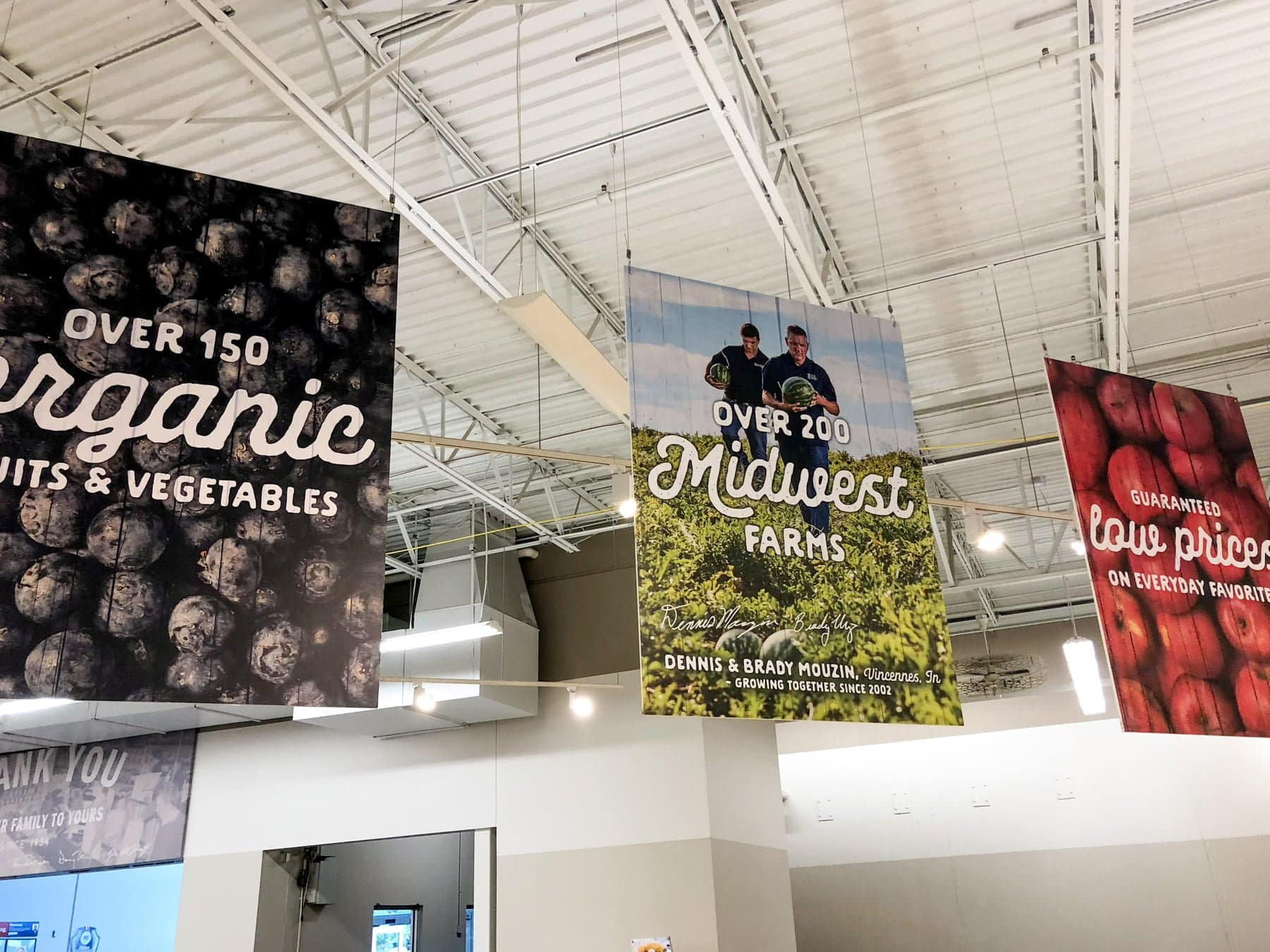 Produce signs from a Meijer store