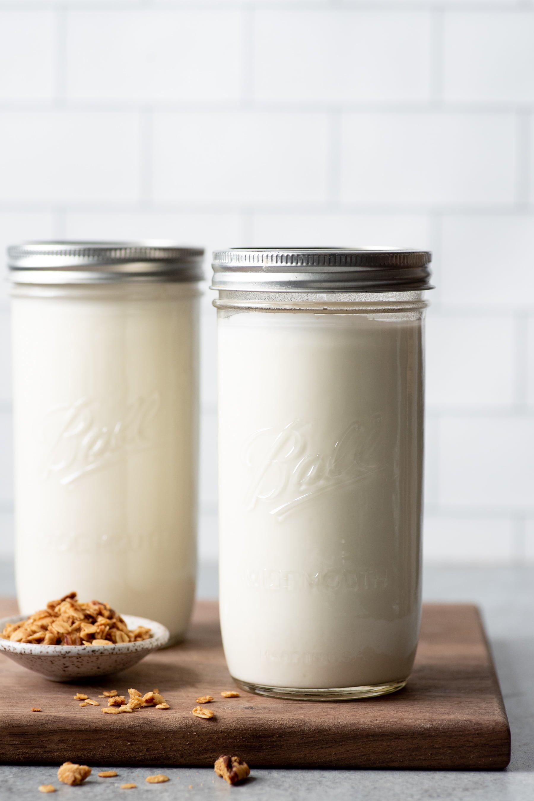 Homemade 24-hour yogurt in two glass jars