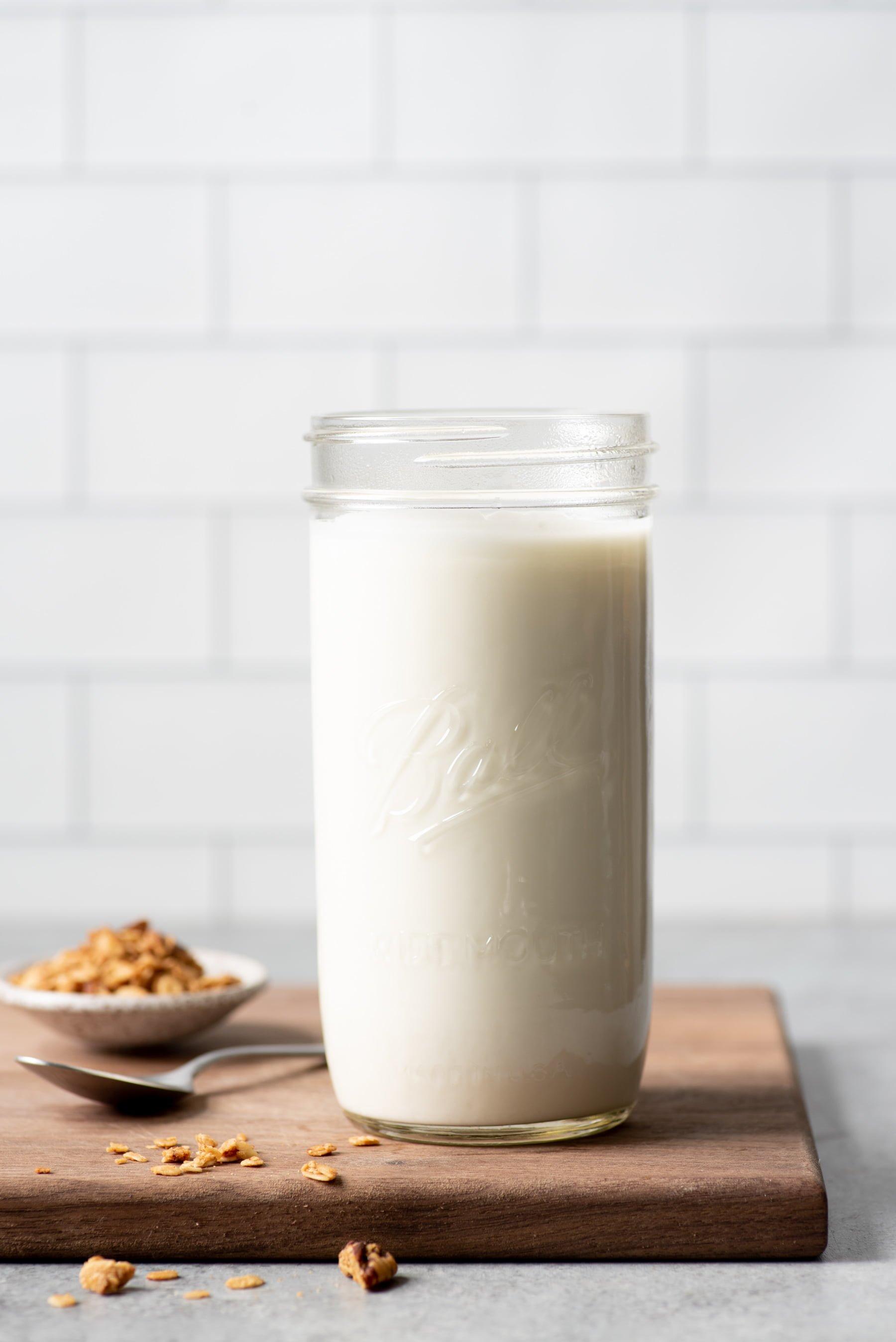 Homemade 24-hour yogurt in a glass jar