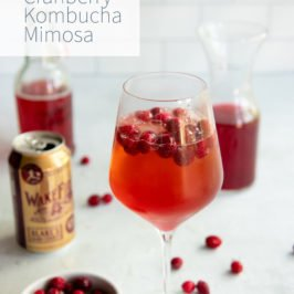 Hard Cider Cranberry Kombucha Mimosa in a clear glass with cranberries floating on top, with the ingredients for the drink behind the glass.