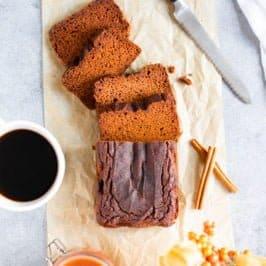 Overhead shot of Grain-Free Pumpkin Bread cut into slices