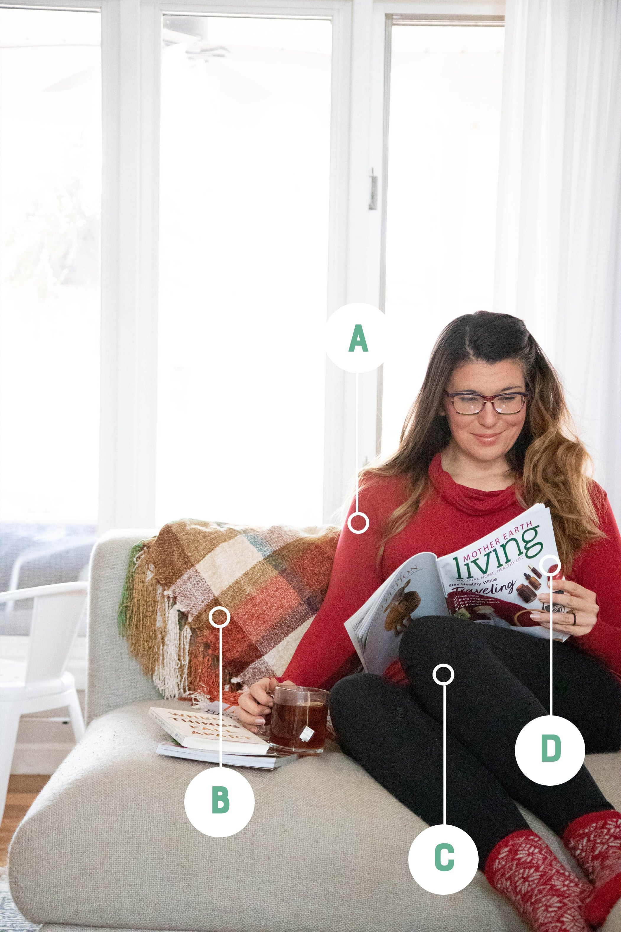 Woman in a red sweater and leggings sitting on a couch reading a magazine. Items are labeled with letters.