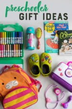 "Kid gift ideas arranged on a gray backdrop: markers, Crocks, books, magazines, a backpack, a water bottle and a hair brush. Text overlay reads: ""Preschooler Gift Ideas."""