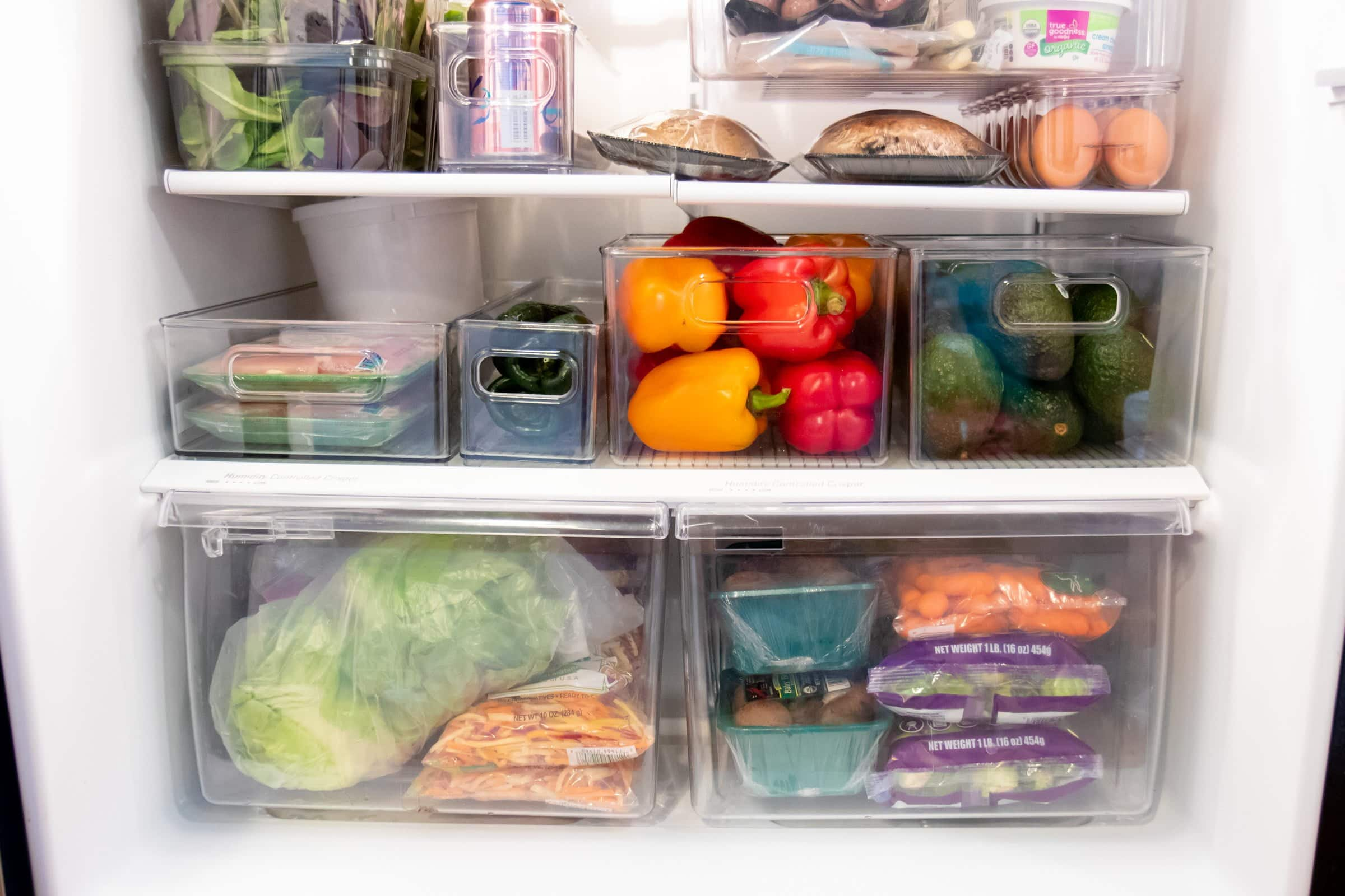 Close-up of crisper drawers filled with vegetables