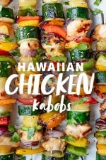 "Finished Grilled Hawaiian Chicken Kabobs on a white background. A text overlay reads ""Hawaiian Chicken Kabobs"""
