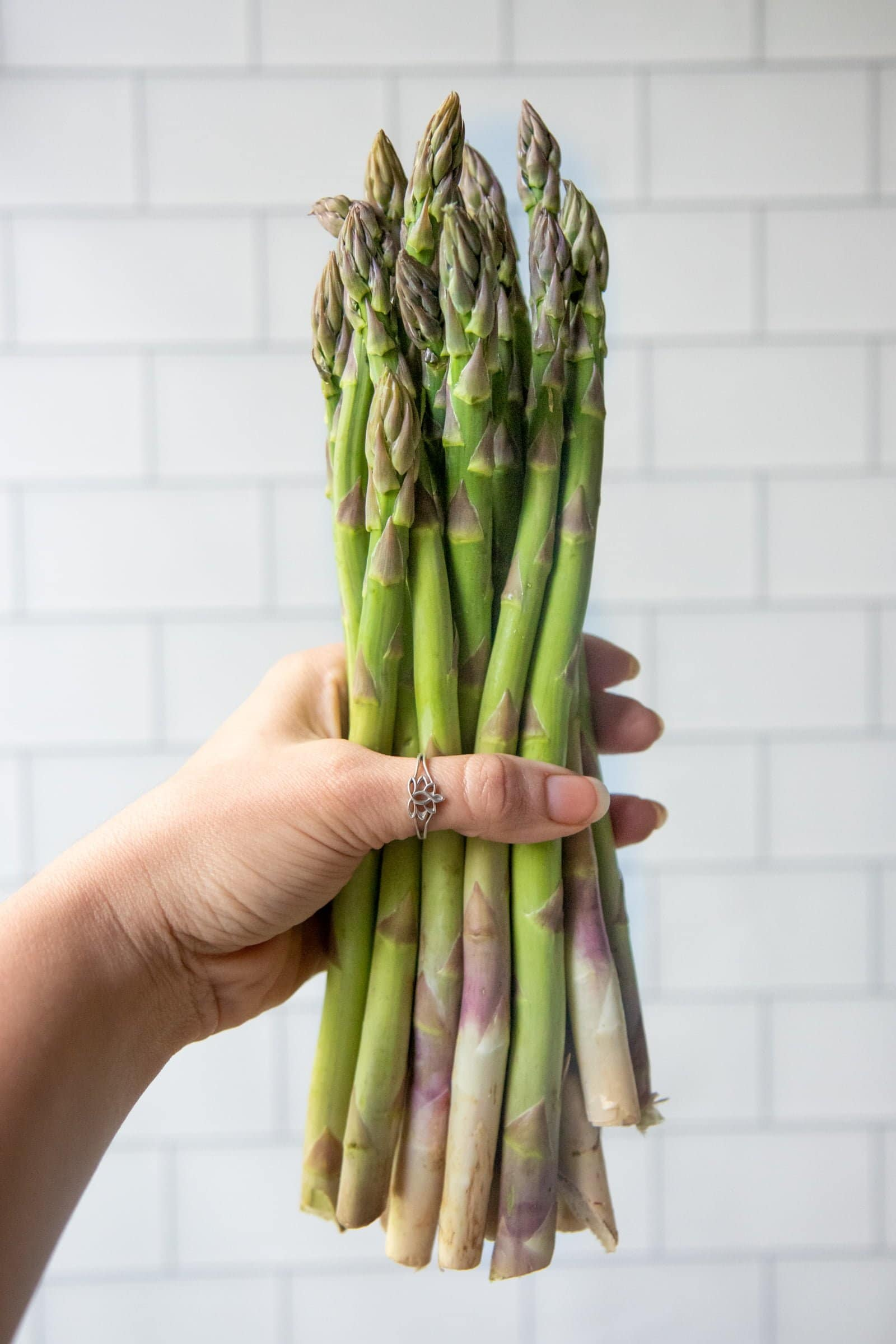 Hand holding a bunch of asparagus in front of a white background.