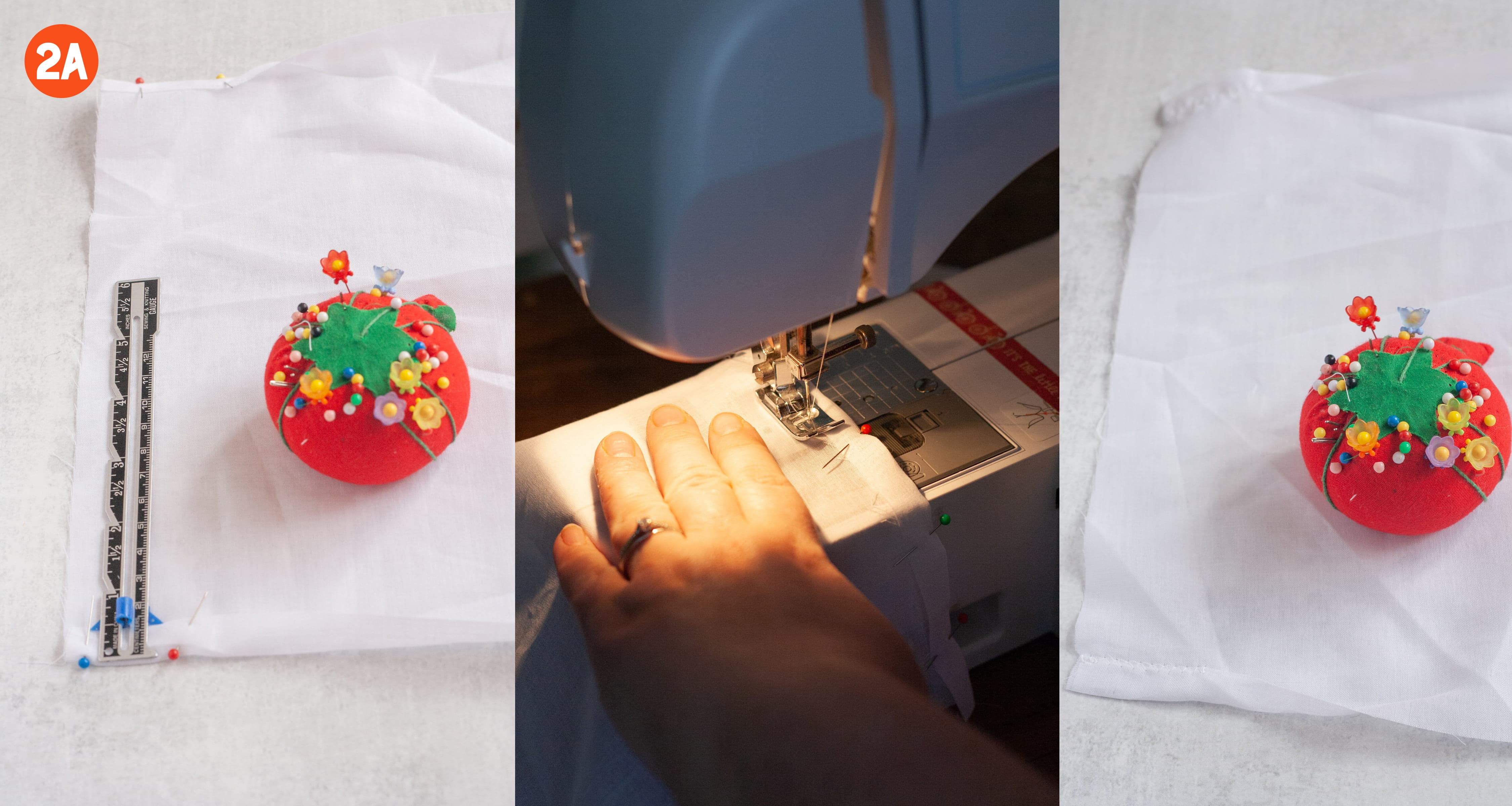 3 side-by-side shots showing how to make a drawstring casing. In one image, an edge of cotton voile is folded over and pinned. In the middle, a hand pushes fabric through a sewing machine. In the last image, that fold is sewn down. Labeled 2a.