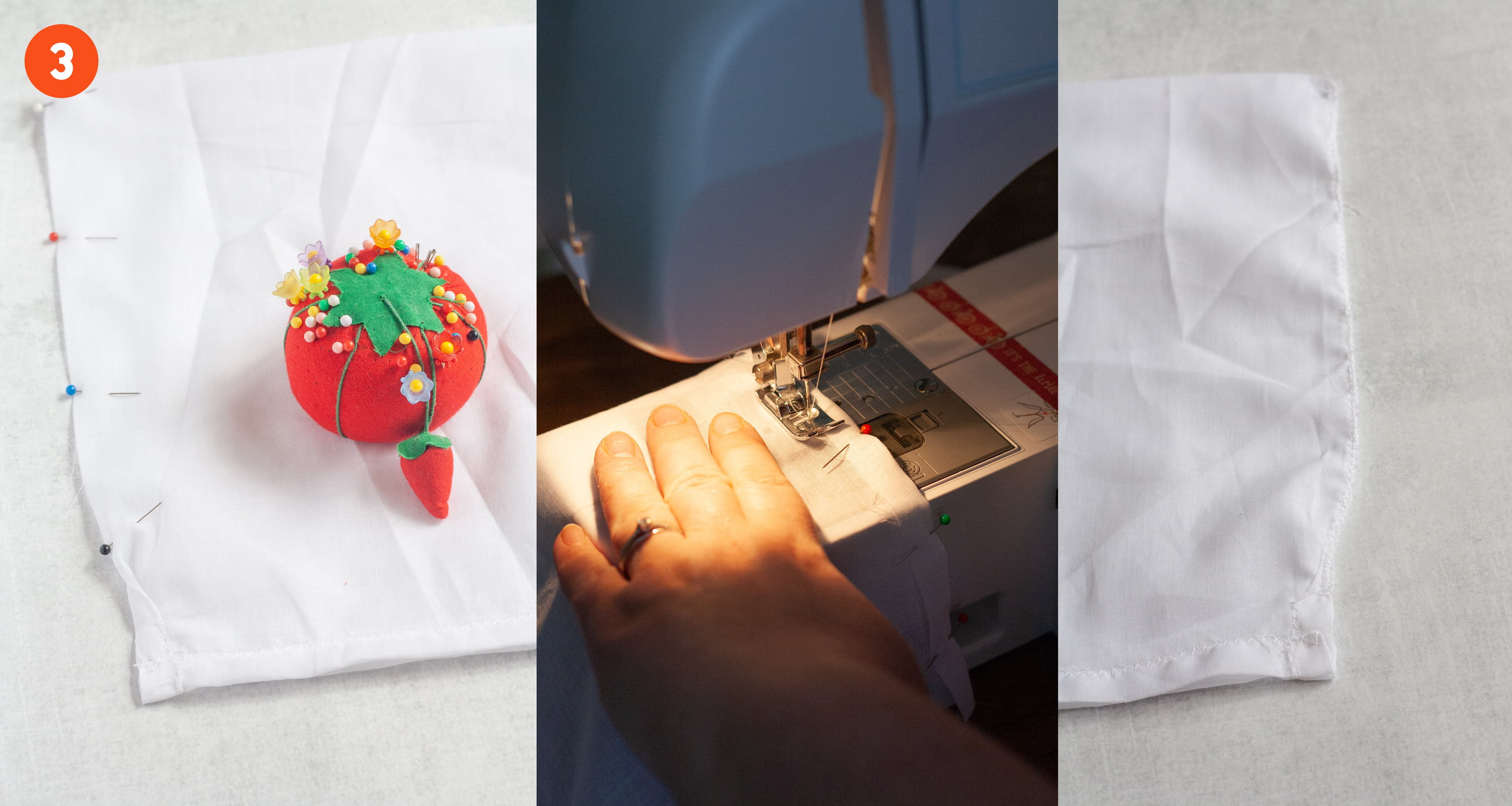 3 images side-by-side showing how to sew a reusable produce bag together. On the left, sides of a bag are pinned together, ready to be sewn. In the middle, the fabric is being fed through a sewing machine. On the third, the sides are sewn. Labeled with 3.