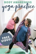 """Two brunette women standing on yoga mats in a Reverse Warrior position, practicing some gentle yoga. A text overlay reads """"Body Awareness Yoga Practice. Free Video!"""""""