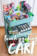 """Rolling utility cart filled with tools and materials for packing zero-waste lunches. A text overlay reads """"How to Make a Lunch Packing Cart."""""""