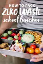 """Hands holding a filled bento-style lunch box for a waste-free lunch. A text overlay reads """"How to Pack Zero Waste School Lunches."""""""