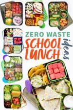 """Collage of stainless steel lunch boxes filled with different packed lunches. A text overlay reads """"Zero Waste School Lunch Ideas."""""""